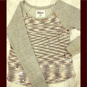 Express Sequined Sweatshirt M Top Sweater Gray